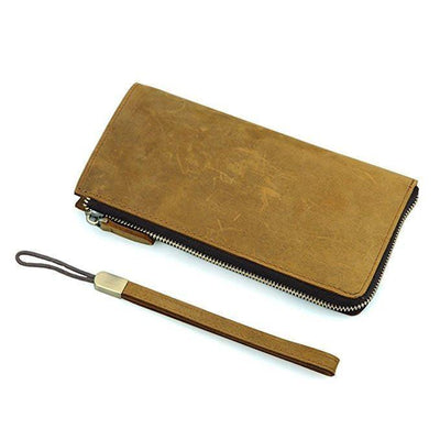 Unisex's Zipper Wallet Organizer Checkbook Purse- Cowhide Leather-Clean Vintage - Clean Vintage