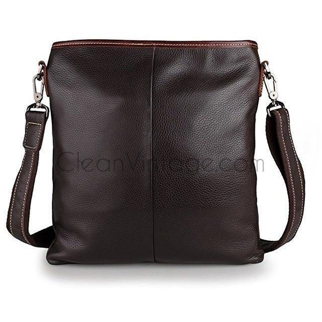 Vertical Leather Messenger Bag for Women Men City Bag