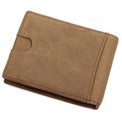 Wallet For Men - Cards Holder Front Pocket Wallet For Men, Clean Vintage Crazy Horse Italian Leather Wallets (Crazy Horse Brown)