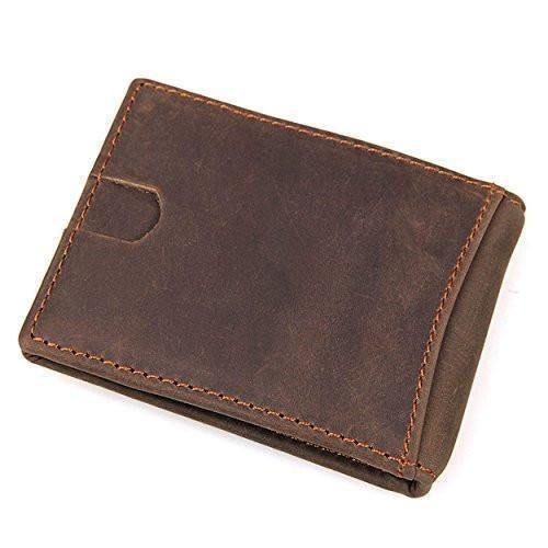 Cards Holder Front Pocket Wallet for Men, Clean Vintage Crazy Horse Italian Leather Wallets (Crazy Horse Brown)