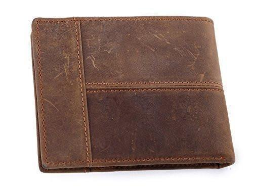 Cards Holder Front Pocket Wallet for Men, Clean Vintage Crazy Horse Italian Leather Wallets (Rustic Brown)