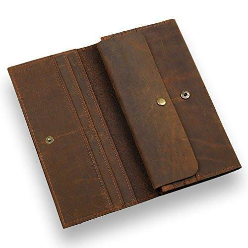 Leather Bifold Long Wallet Cards Holder, Retro Brown Leather, Clean Vintage (Crazy Horse Brown)