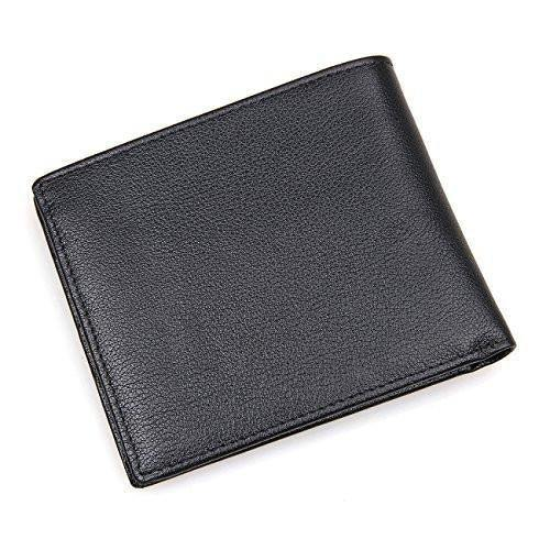 Men Leather Wallet RFID Cards Holder Front Pocket Wallet, Clean Vintage (Black)