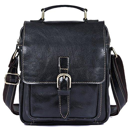 Women Leather Cross Body Shoulder Briefcase Messenger Bag Black- Clean Vintage
