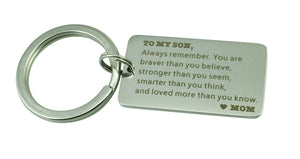 Gifts to Son & Daughter From Mom, Dad - Stainless Steel Keychain (To My  Son- Mom )