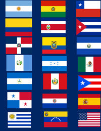 Hispanic American Economy Flag Set - 21 4x6 inches Flags NO STANDS $21.95  .. OM -  DiversityStore.Com®