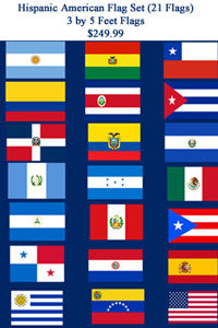 Hispanic American 3 by 5 Feet Flag Set - 21 Flags .. OM -  DiversityStore.Com®
