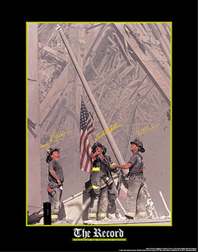 Item# P911F 911 Firemen and Flag Poster P911F..OM