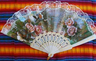 Spanish Fan with Flowers .. OM -  DiversityStore.Com®