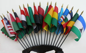 Item# AFSP1 African Flag Set of 17 Part 1 - 16 African Country Flags & 1 African American Flag .. OM -  DiversityStore.Com®