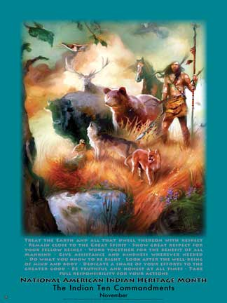 Item# AI83 National American Indian Heritage Month The Indian Ten Commandments Poster .(GSA)
