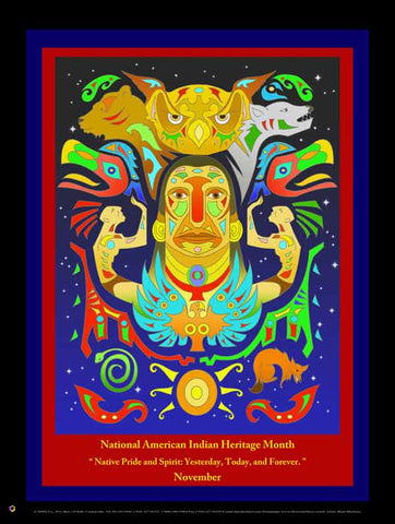 Item# AI14 American Indian Heritage Month - Native Pride & Spirit ..Poster .(GSA) -  DiversityStore.Com®
