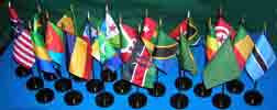 Item# A3 African Flag Set- 21 Flags on 21 one-hole stands .. OM -  DiversityStore.Com®