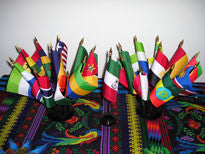 Item# A321 African Flag Set- 21 Flags on two ten-hole stands & one one-hole stand.. OM -  DiversityStore.Com®