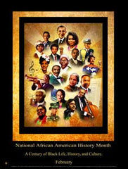 "Item# B15A24x36 Custom Made 24x36"" National African American History Month A Century of Black Life....- OM -  DiversityStore.Com®"