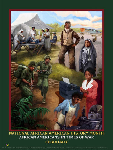 2018 Item# B18A24x36 African American History Month (Custom Made 24x36 Inches) African Americans in Times of War (OM)
