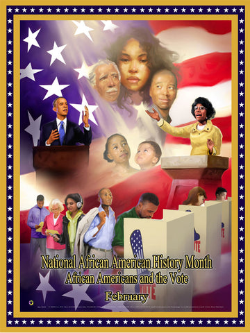 "Item# B20A24x36 2020 African American History Month (Custom Made size 24x36"") African Americans and the Vote (OM) -  DiversityStore.Com®"
