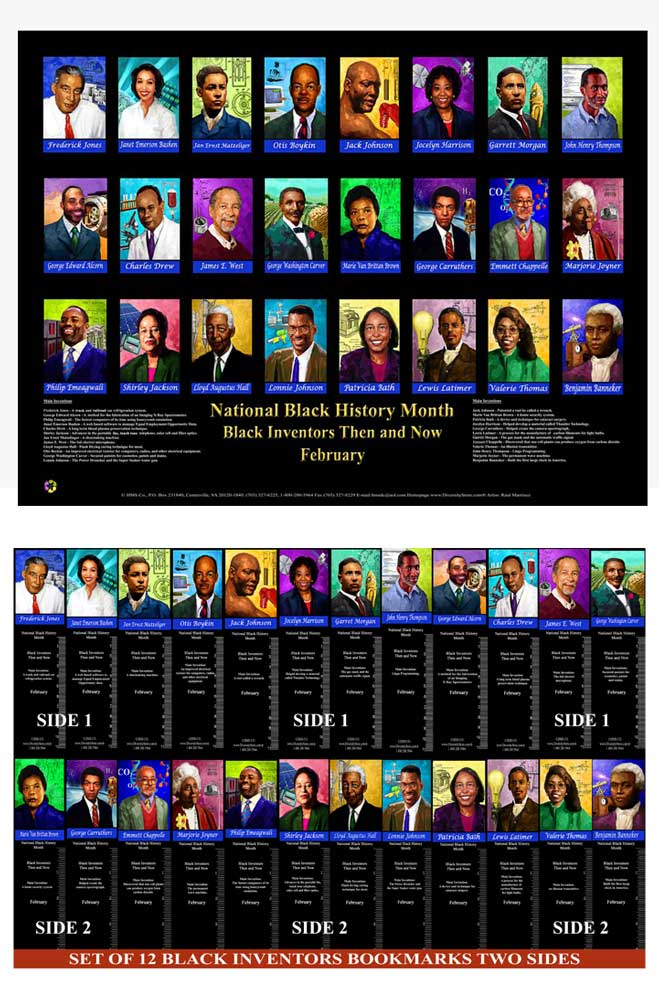Item# BNVPK Poster & Bookmark Set 1 Poster  plus 36 Black Inventors Bookmarks. -  DiversityStore.Com®