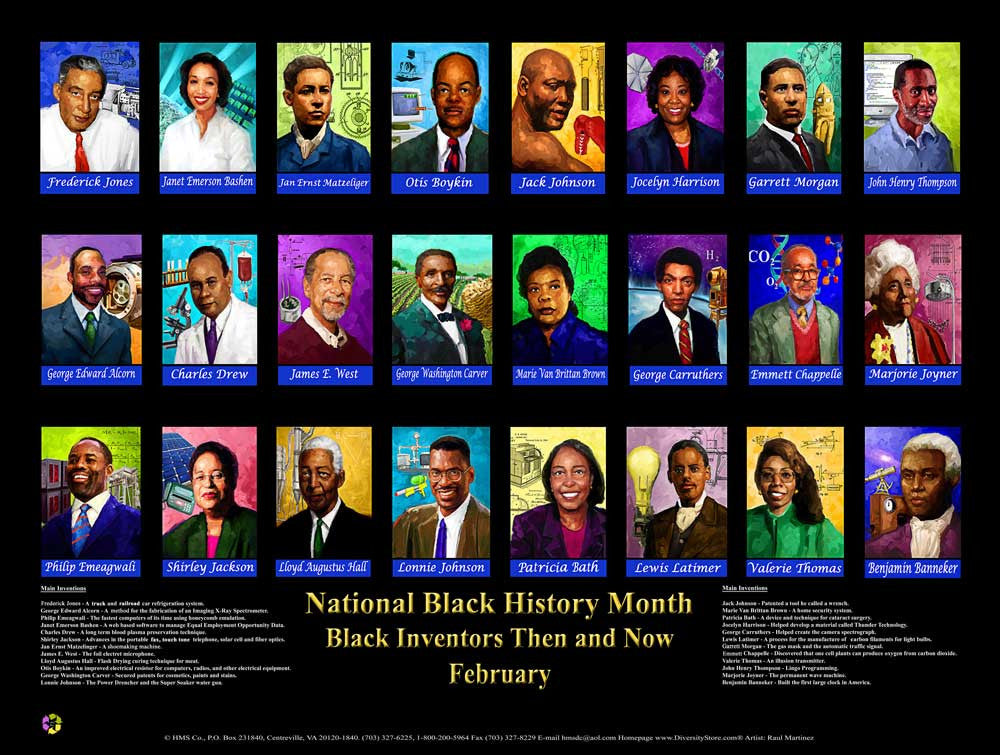Item# BNV2 Black Inventions & Inventors Then and Now Poster .(GSA) -  DiversityStore.Com®