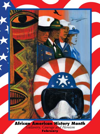 Item# B04M African American History Month Gallantry, Courage, & Heroism Poster .(GSA) -  DiversityStore.Com®