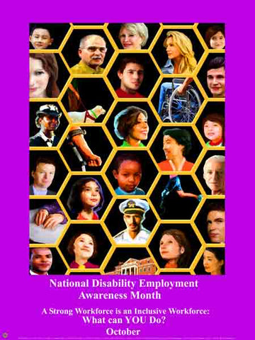 Item# D12 National Disability Employment Awareness Month Poster A Strong Workforce...(GSA) -  DiversityStore.Com®