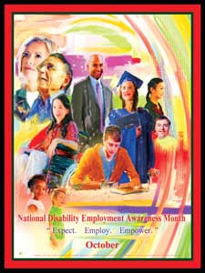 Large 24X36 2014 National Disability Employment Month Poster Custom Made
