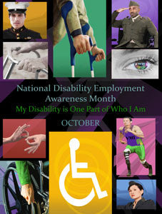Large Custom Made 24X36 inch 2015 Disability Employment Awareness Month Poster