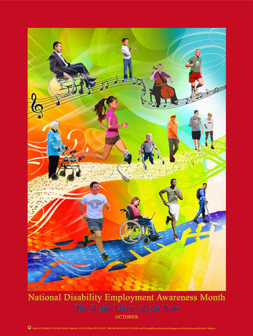 D1924X36 Large Custom Made 24X36 inch 2019 Disability Employment Awareness Month Poster.. Theme: The Right Talent, Right Now.. OM -  DiversityStore.Com®