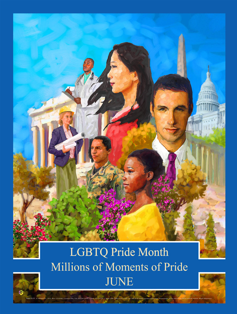 Item# GL1924x36 Custom Made (24x36 inches $49.95) 2019 LGBTQ Pride Month - Millions of Moments of Pride -  DiversityStore.Com®