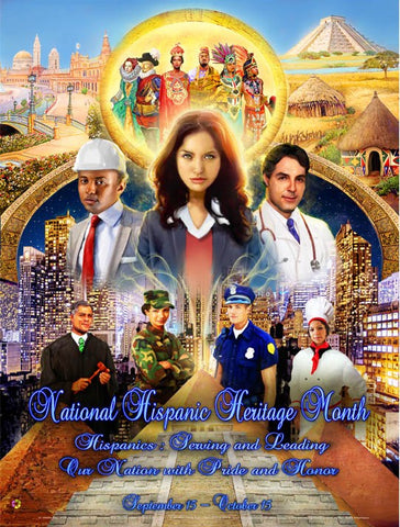 Item#  H13 National Hispanic Heritage Month Poster Serving and Leading Our Nation (GSA) -  DiversityStore.Com®