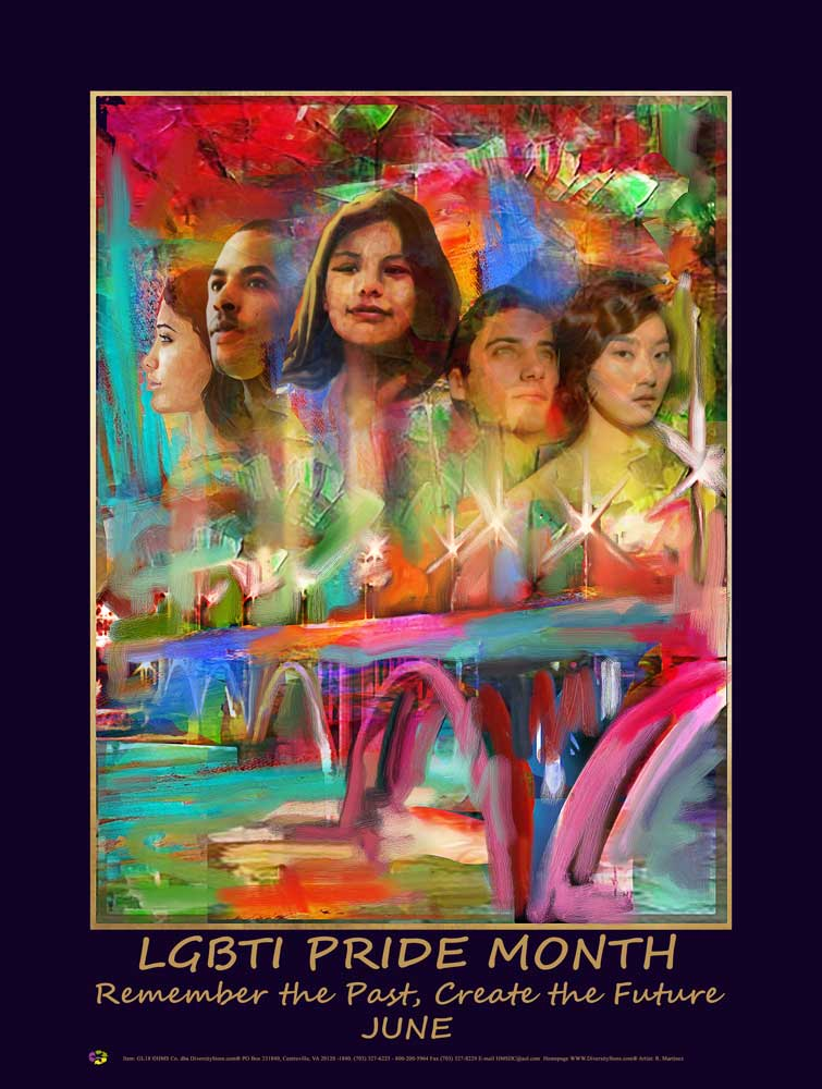 Item# GL1824x36 Custom Made (24x36 inches $49.95) 2018 LGBTI Pride Month - Remember the Past, Create the Future -  DiversityStore.Com®