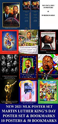 Item# MLKPS Dr. Martin Luther King, Jr. National Holiday - Poster SET- MLK21, 20,19,18,17,16,15,14,13,12 & MLK11- Bonus 50 Bookmarks (OM)