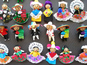 Mexican Charro Doll Set (two dolls - boy and girl) $3.75 each set - Size - 2 inches tall .. OM