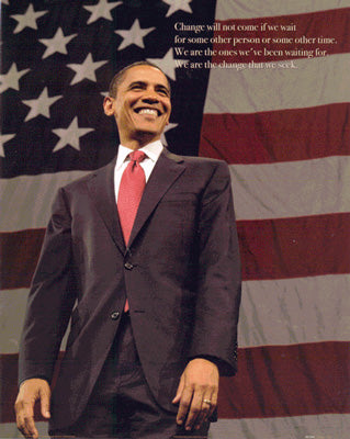 Obama Mini 1 - Obama USA Flag OM1 Poster (8 inch by 10 inch)