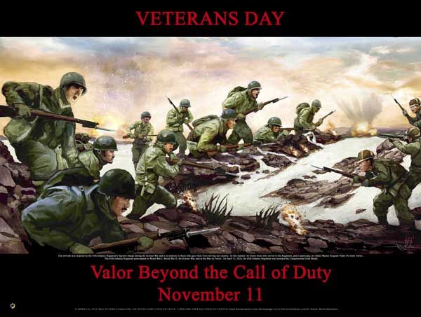 Item# VET1524x36 (Custom Made 24x36 Inches) Veterans Day Valor Beyond the Call of Duty (OM)