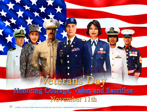 "Item# VET1824x36 (Custom Made 24x36"") Veterans Day Honoring Courage .. (OM) -  DiversityStore.Com®"