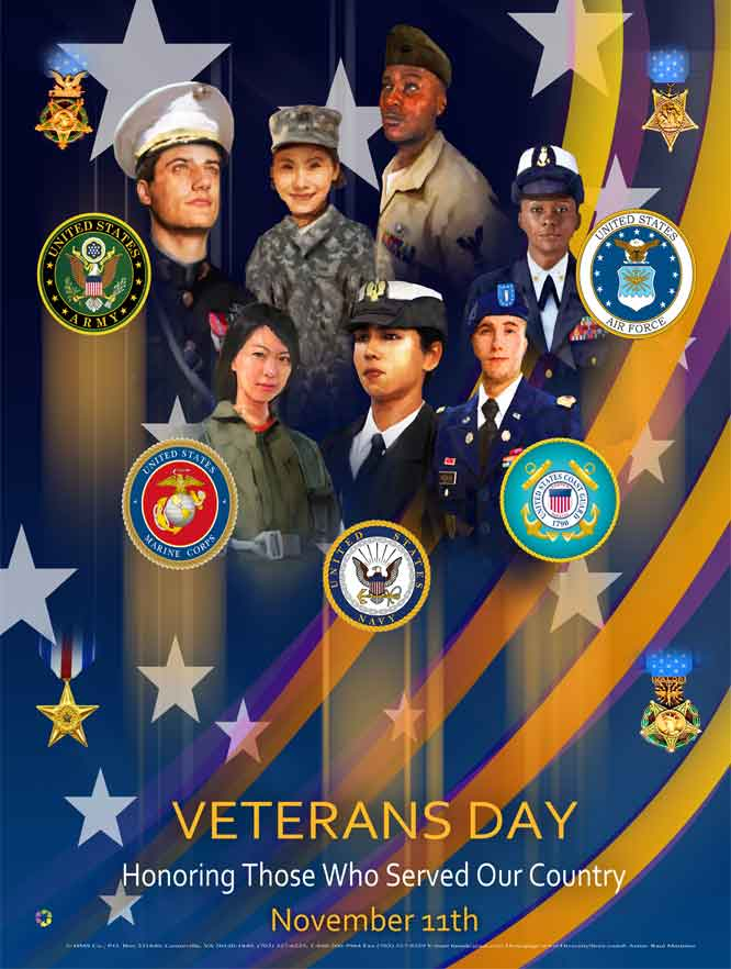 "Item# VET2024x36 (Custom Made 24x36"") Veterans Day Honoring Those Who Served Our Country .. (OM) -  DiversityStore.Com®"