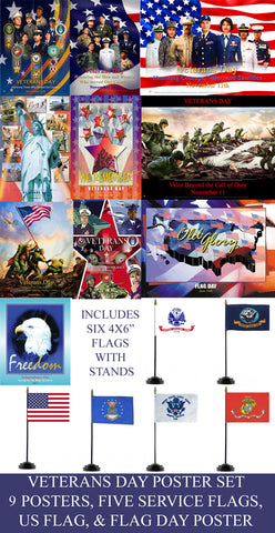 Item# VETSET  Veterans Day Poster Set 9 POSTERS With US and Service Flags-  (GSA) -  DiversityStore.Com®