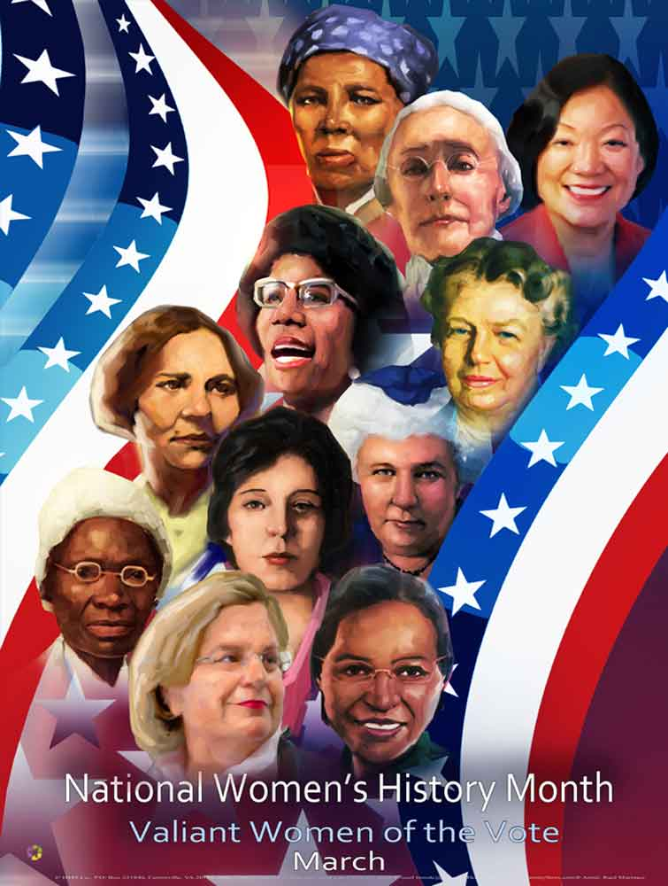 "NEW 2020 Item# WH20 - (24x18"") National Women's History Month Valiant Women of the Vote: (OM)"