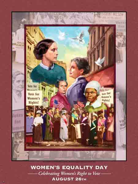 Item# WED1124X36 Women's Equality Day Poster Celebrating Women's Right to Vote(V2) Product: WED11  (GSA) -  DiversityStore.Com®