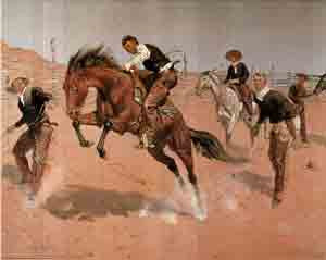 Cowboy On Horse Item:AM147(size 16x20 inches)