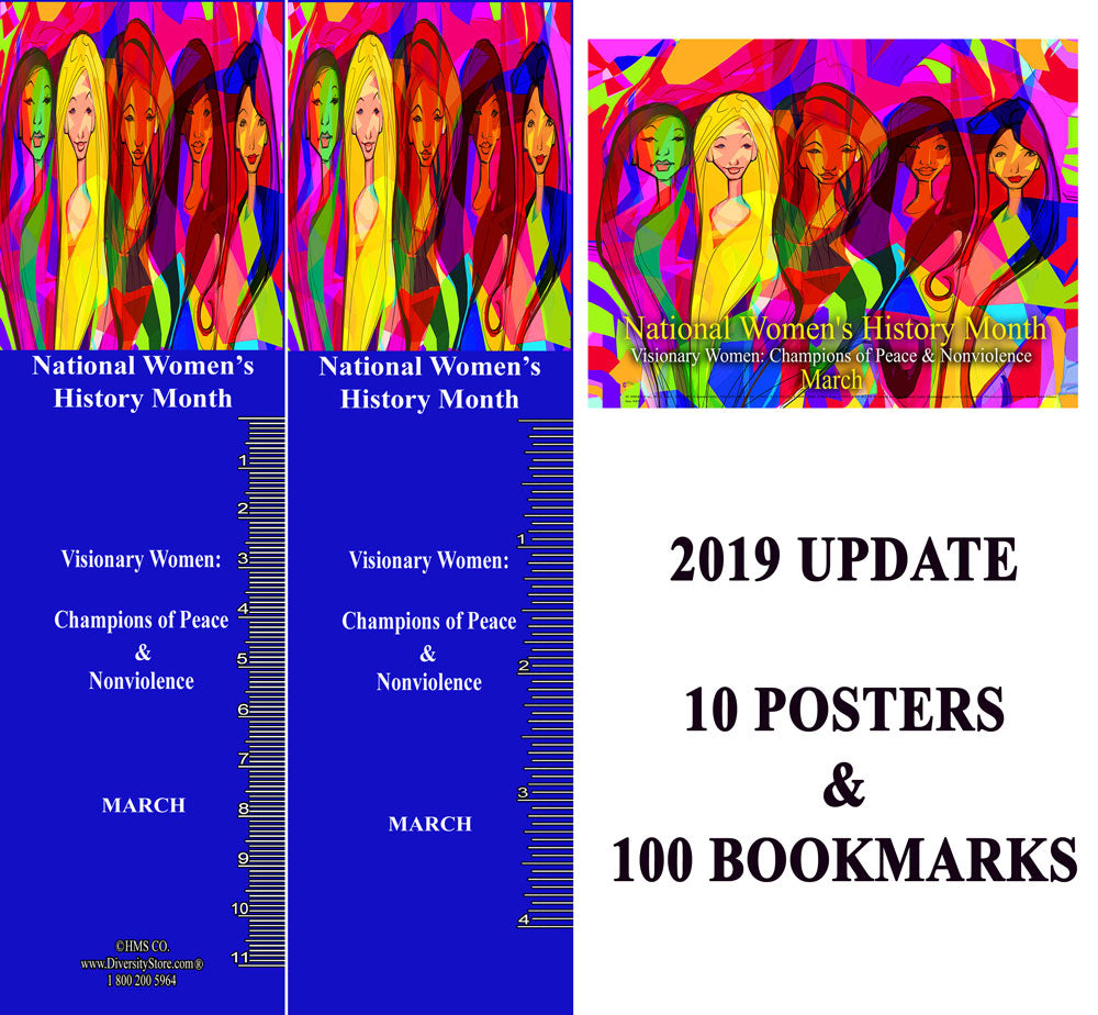 Item# WH15SET 2019 Update National Women's History Month SET 10 Posters & 100 Bookmarks