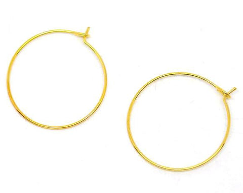 Gold plated hoop earring wires 25mm / 1 pair - 10 pairs - MAE Inspirations