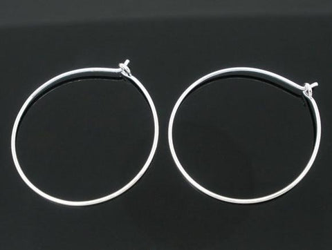 Silver plated hoop earring wires 25mm / 1 pair - 10 pairs - MAE Inspirations