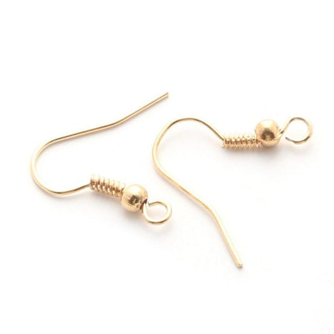 Gold plated ball & coil ear wires 18mm X 16mm / 1 pair - 10 pairs - MAE Inspirations