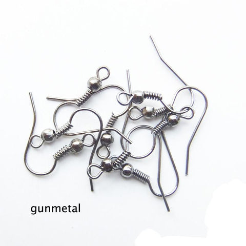 Gunmetal ball & coil ear wires 18mm X 16mm / 1 pair - 10 pairs - MAE Inspirations