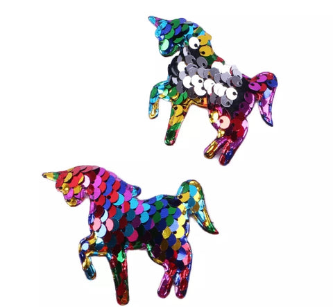 "Rainbow double sided sequin 2.5"" unicorn padded appliqués - MAE Inspirations"