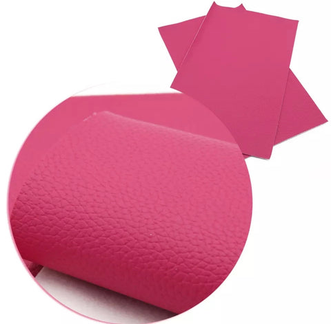 Fuchsia pink textured solid faux leather fabric sheet - MAE Inspirations