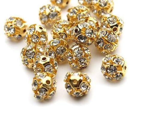 6mm gold plated rhinestone crystal pave fireball bead / 2-10 pieces - MAE Inspirations