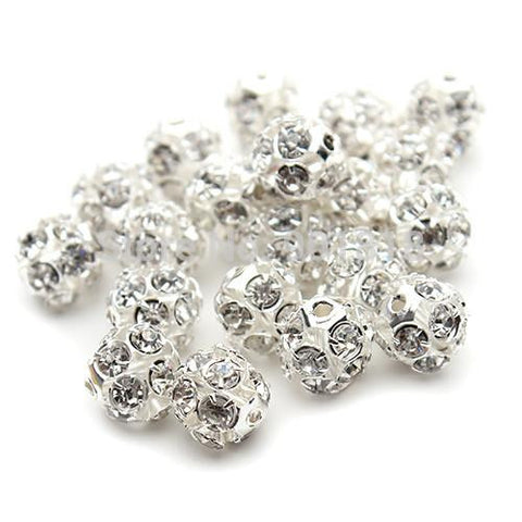 8mm silver plated rhinestone crystal pave fireball bead / 2-10 pieces - MAE Inspirations